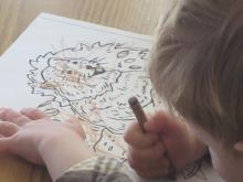 Child coloring a groundhog picture.